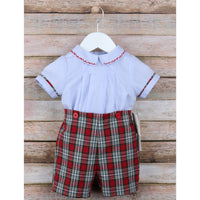 Sophie & Lucas- Blue Merry Tartan Teddy Button On