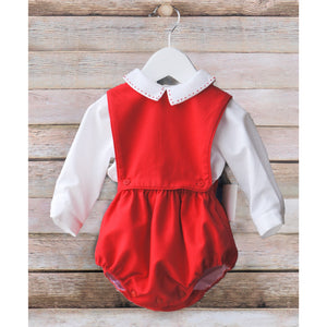 Sophie & Lucas- Red Classic Boy Overall
