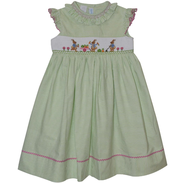 Vive la Fete- Rabbits Smocked Seersucker Dress