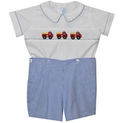 Collection Bebe- Firetruck Smocked Button On Short Set
