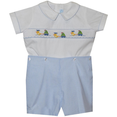 Collection Bebe- Sailing Ducks Lt Blue Seersucker Button On Short Set