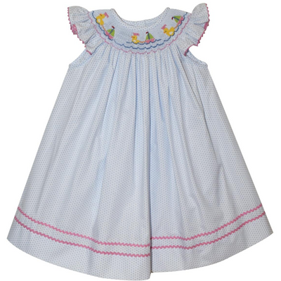 Collection Bebe- Sailing Ducks Smocked Blue Polka Dot Bishop