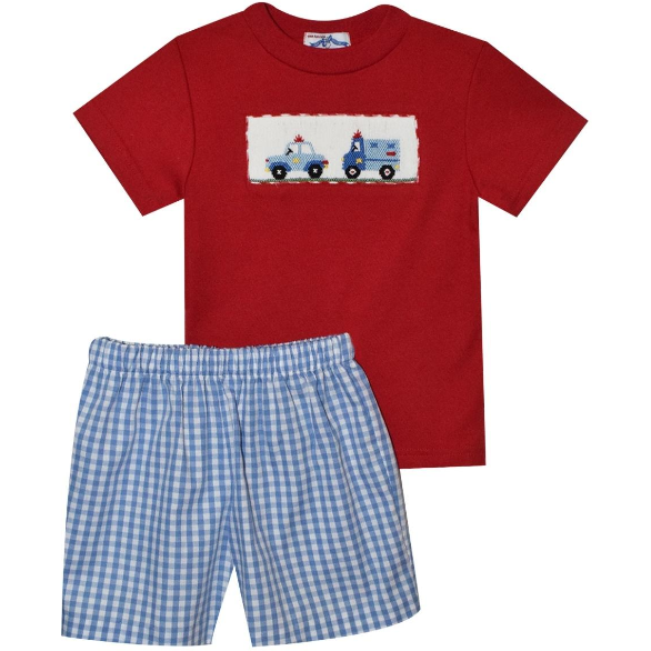Silly Goose- Cars Smocked Short Set