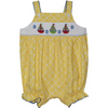 Silly Goose- Sailboat Smocked Yellow Quatrefoil Strap Bubble