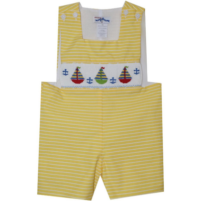 Silly Goose- Sailboat Smocked Yellow Stripe Sunsuit
