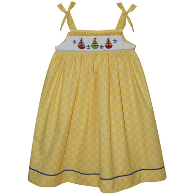 Silly Goose- Sailboats Smocked Yellow Quatrefoil Strap Dress