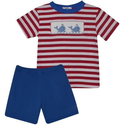 Silly Goose- Whale Smocked Stripe Boy's Short Set
