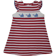 Silly Goose- Whale Smocked Red Stripe Knit Dress