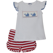 Silly Goose- Whale Smocked Red Stripe Short Set