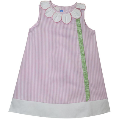 Monday's Child- Petal Pink Stripe Seersucker Dress