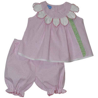 Monday's Child- Petal Pink Stripe Seersucker Bloomer Set