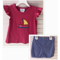 Zuccini- Sailboat Applique Banded Short Set