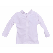 Flap Happy- White Solid Zip Front Rashguard