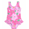 Flap Happy- Wild Hibiscus Hip Ruffle Tank Swimsuit w/UPF 50+