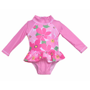 Flap Happy- Wild Hibiscus Infant Ruffle 1PC Rashguard Swimsuit w/UPF 50+