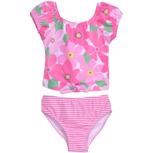 Flap Happy- Wild Hibiscus 2PC Tie Front Swimsuit w/UPF 50+