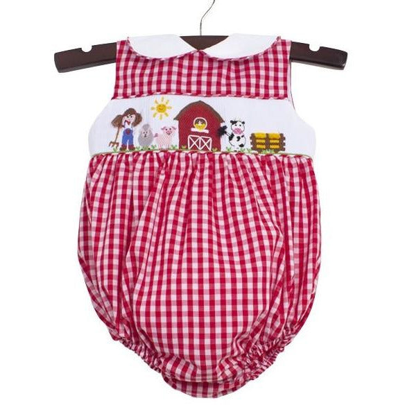 Zuccini- Farm Smocked Red Gingham Girl Bubble