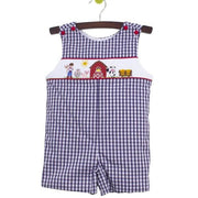 Zuccini- Farm Smocked Navy Gingham Shortall