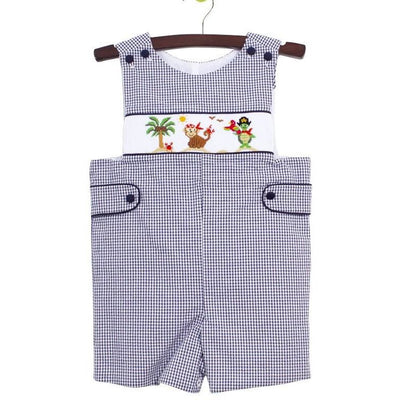 Zuccini- Pirate Animals Smocked Shortall w/Tabs