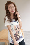 Pearl Embellished Cat Print Chiffon Top
