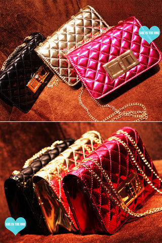Small Quilted Patent Clutch