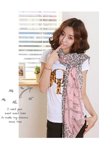 Leopard With Chain Pattern Cotton Scarf