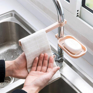 Hanging Rack Storage Holder for Sponge & Towel-Clip On Faucet Organizer