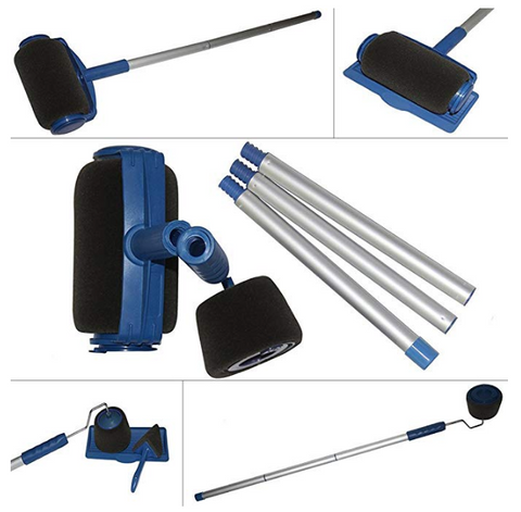 8-Piece No Mess Indoor/Outdoor Paint and Stain Roller Brush. FREE GIFT Included-Extender Pole!