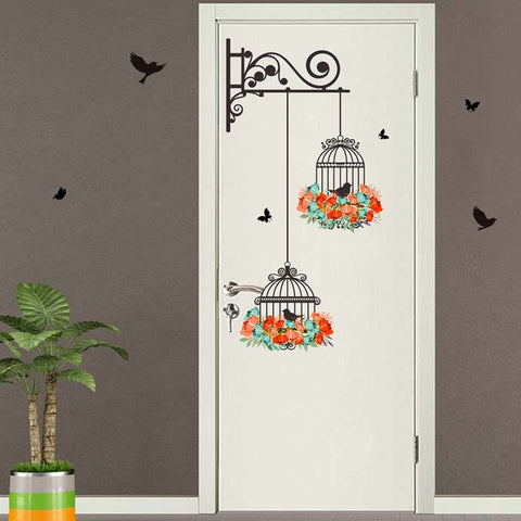 Image of Floral Birdcage Wall Decal