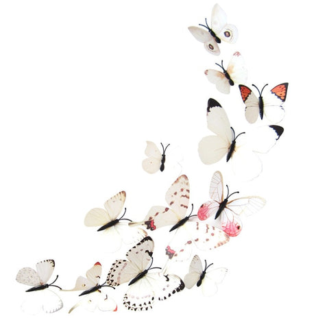 Realistic 3D White Butterfly Wall Decal (Set of 12)