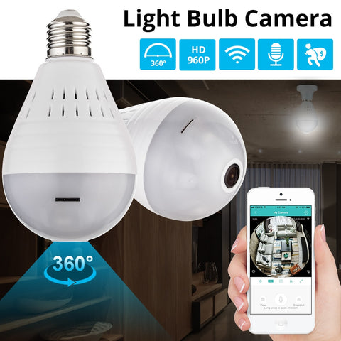 Image of Wireless 360° Panoramic Home Security Camera Lightbulb