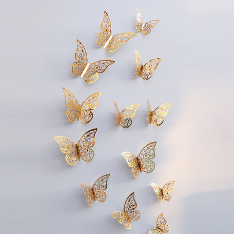3D Hollow Cut Butterfly Wall decal in Silver or Gold (Set of 12) Choose From 3 Different Designs