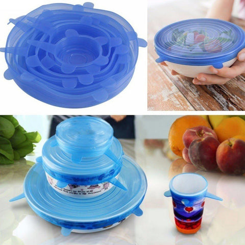 6-Piece Silicone Food Cover Set Choose from 5 different colors!