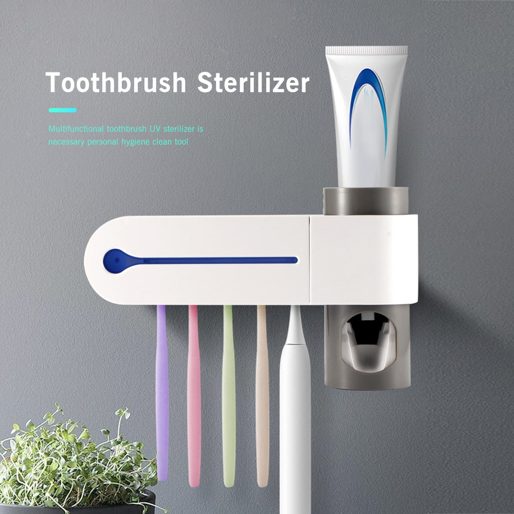 UV Light Toothbrush Sterilizer with Toothpaste Tube Dispenser