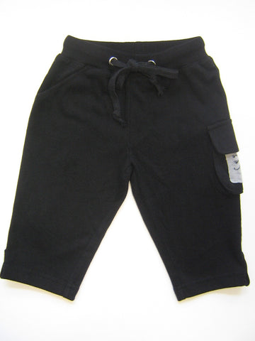 Mini Monster Black Terry Cargo Pants