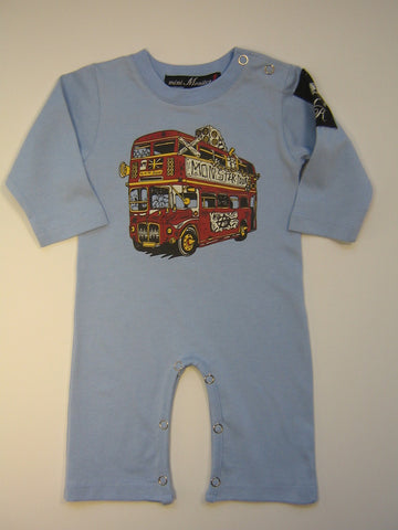 Mini Monster Double Decker London Bus One Piece Romper