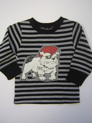 Mini Monster Striped Punk Bulldog Long Sleeve Shirt