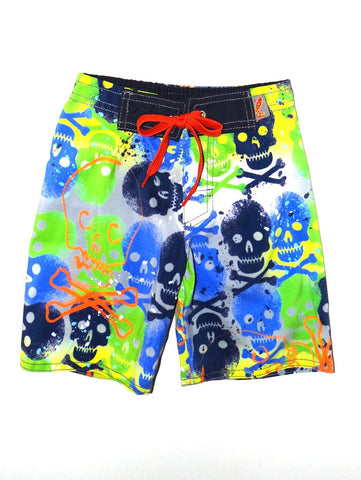 Charlie Rocket Painted Skulls Swim Shorts