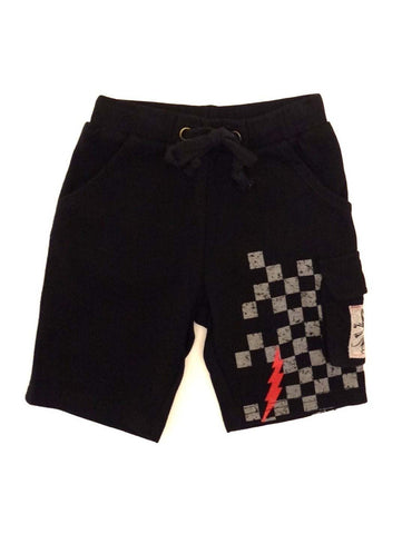 Mini Monster Black French Terry Cargo Shorts