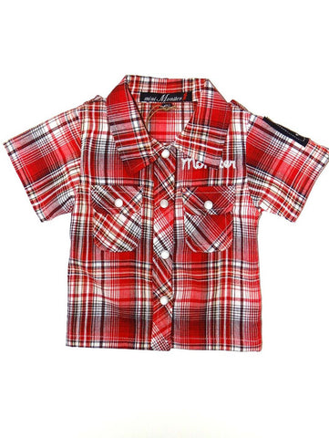 Mini Monster Plaid Camp Short Sleeve Shirt