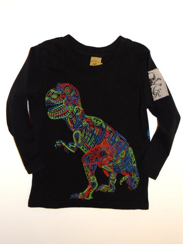 Monster Republic Black Neon Dino Long Sleeve Tee