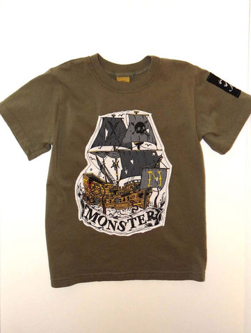 Monster Republic Olive Pirate Ship Short Sleeve Shirt