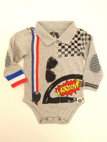 Mini Shatsu Infant Speeder Vroom Long Sleeve Polo One Piece
