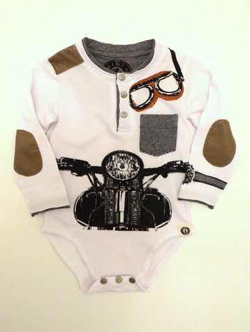 Mini Shatsu Infant Vintage Biker Long Sleeve Henley One Piece