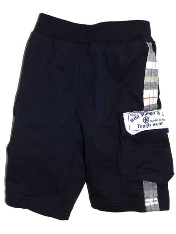 Wild Mango Black French Terry Cargo Shorts