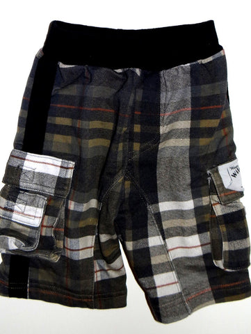 Wild Mango Plaid French Terry Cargo Shorts