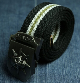2018 Fashionable Men/'s Canvas Belt Skull Metal Style Tactics Woven Casual Outfit