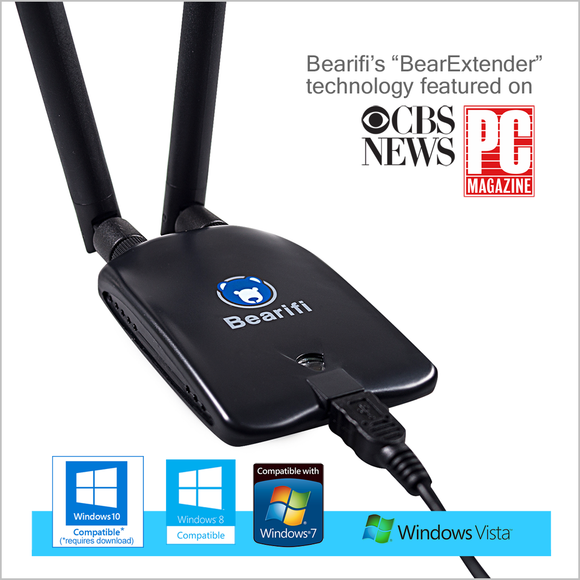 Bearifi BearExtender PC v4 Long Range USB WiFi Booster for Microsoft Windows- new for 2018