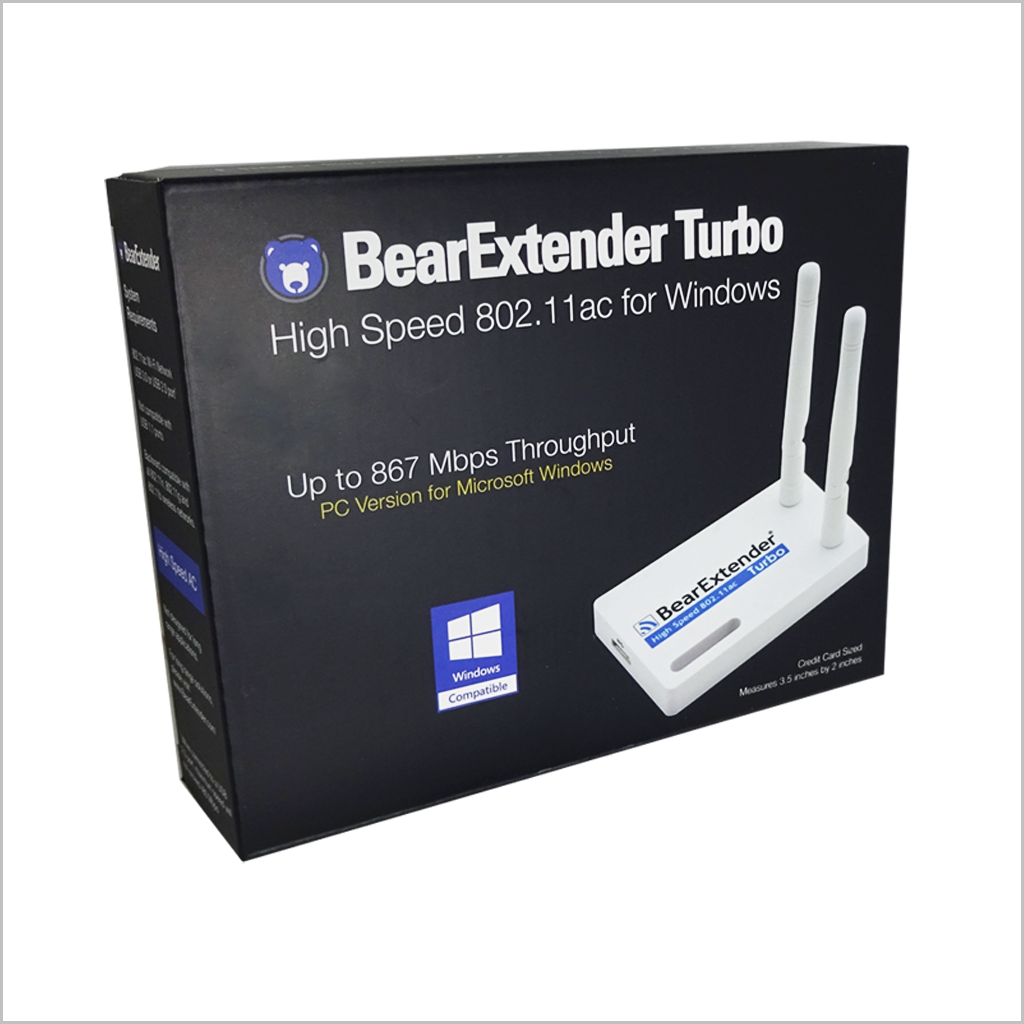 BearExtender Turbo PC 802.11ac AC1200 USB Wi-Fi adapter for Microsoft Windows Realtek RTL8812AU chip