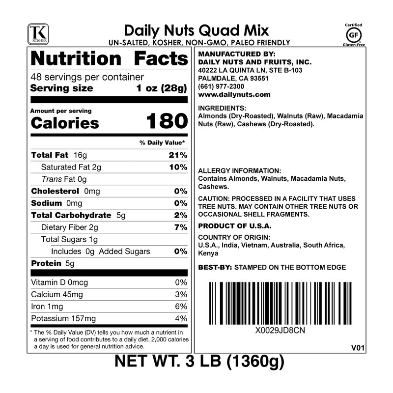 Daily Nuts Quad Mix (Almonds, Cashews, Macadamia Nuts, Walnuts | 3 LB)